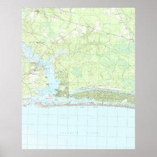Eichen-Insel-North Carolina Map (1990) Poster