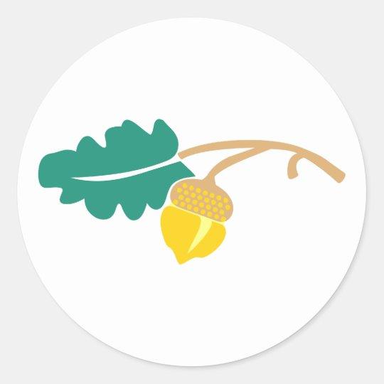 Eichenblatt Eichel oak leaf acorn Runder Aufkleber