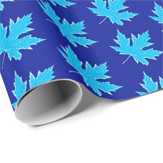 Eichenblatt - Eisblau und -WEISS Geschenkpapier