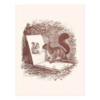 Eichhörnchen bewundert Skizze von Selbst Postkarte