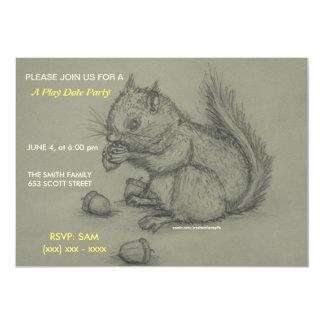 Eichhörnchen-Bleistift, der Spieldatum Party Individuelle Einladungskarte