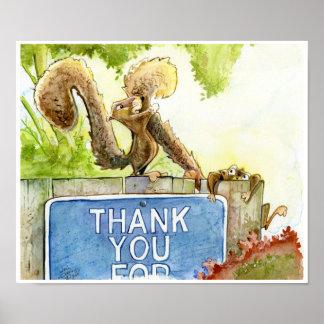 Eichhörnchen danken Ihnen Poster