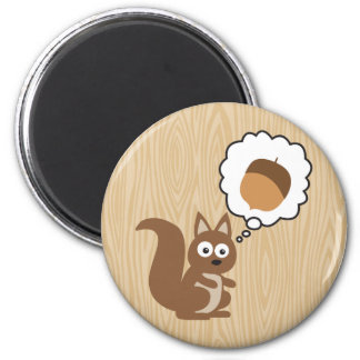 Eichhörnchen das an Nuss denkt Kühlschrankmagnet