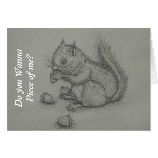 Eichhörnchen, das den nuts Bleistift zeichnet Gruß Grußkarte