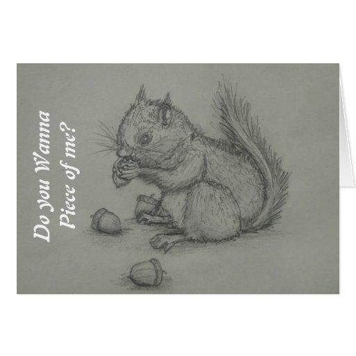 Eichhörnchen, das den nuts Bleistift zeichnet Gruß Grußkarten