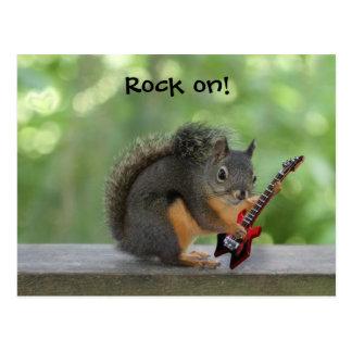 Eichhörnchen, das E-Gitarre spielt Postkarte