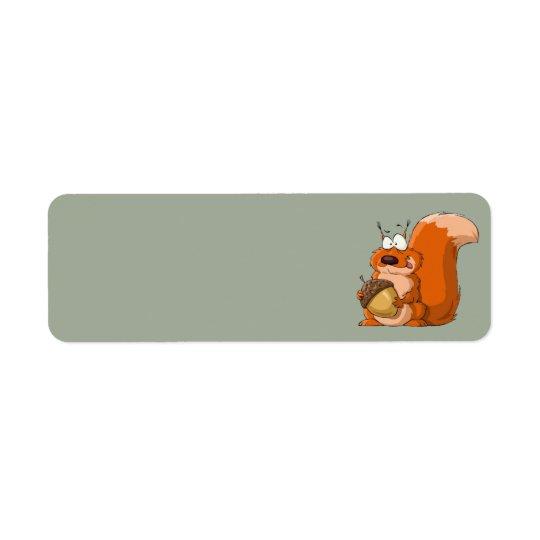 Eichhörnchen, das EichelAdressen-Etiketten hält Rückversand-Adressaufkleber