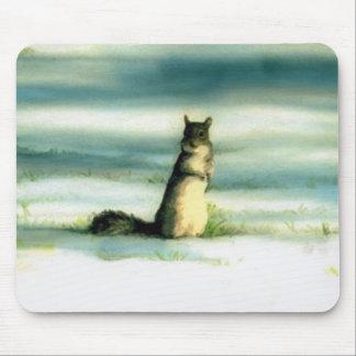 """""""Eichhörnchen im Schnee"""" Tier-Kunst-Computer Mousepad"""