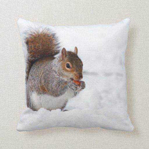 eichh rnchen im winter zierkissen zazzle. Black Bedroom Furniture Sets. Home Design Ideas