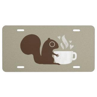Eichhörnchen-Kaffee-Liebhaber US Nummernschild