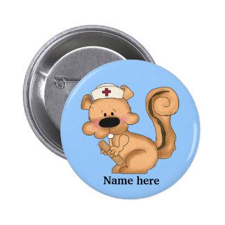 Eichhörnchen-Krankenschwester-Knopf Button