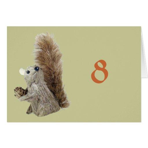 Eichhörnchen-Marionetten-Tabellen-Zelt-Schablone Mitteilungskarte