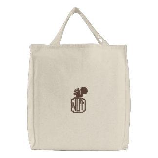 Eichhörnchen mit kundenspezifischem Monogramm Bestickte Tragetasche