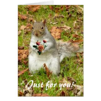 Eichhörnchen mit Rosen Karte