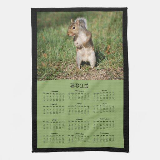 Eichhörnchen-Stoff-Kalender des Ostgrau-2015 Handtuch