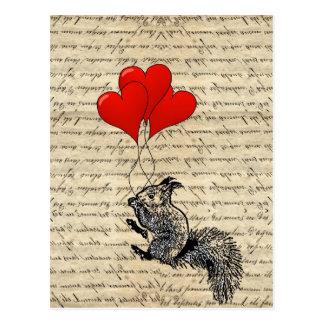 Eichhörnchen- und Herzballone Postkarte