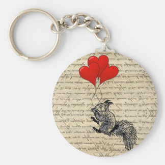 Eichhörnchen- und Herzballone Standard Runder Schlüsselanhänger