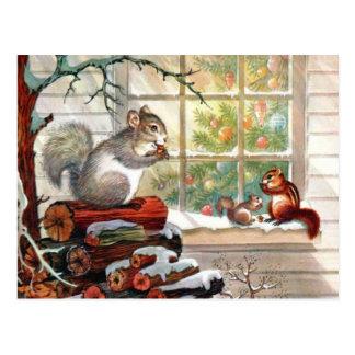 Eichhörnchen-Vintage Weihnachtspostkarte Postkarte