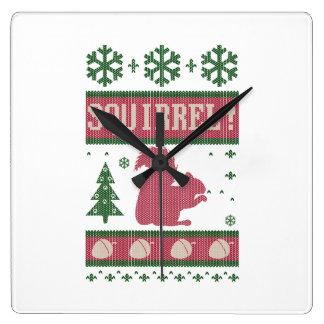 Eichhörnchen-Weihnachten Quadratische Wanduhr