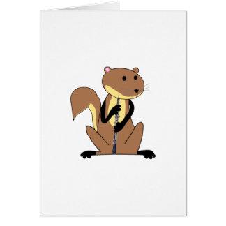 Eichhörnchen, welches das Oboe spielt Grußkarte