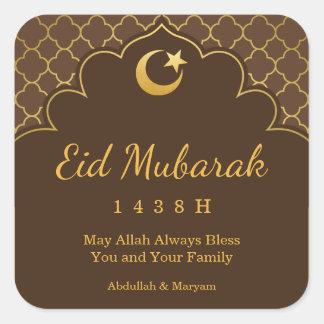 Eid Feier-Aufkleber-GoldMorrocan Muster Quadratischer Aufkleber