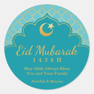 Eid Feier-Aufkleber-GoldMorrocan Muster Runder Aufkleber
