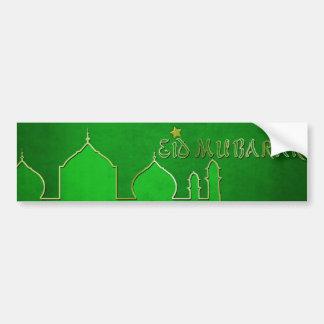 Eid Mubarak grünes Goldmoschee - Autoaufkleber