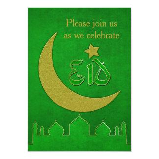 Eid Mubarak grünes Goldmoschee - Einladungs-Karte 12,7 X 17,8 Cm Einladungskarte