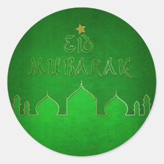 Eid Mubarak grünes Goldmoschee - islamischer Runder Aufkleber