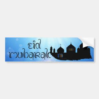 Eid Mubarak Moschee mit Sunrays - Autoaufkleber