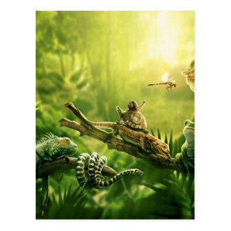 Eidechsen-Frosch-Dschungel-Reptil-Landschaft Postkarte