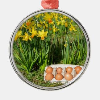 Eier im Kasten auf Gras mit gelben Narzissen Rundes Silberfarbenes Ornament