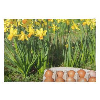 Eier im Kasten auf Gras mit gelben Narzissen Tischset
