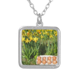Eier im Kasten auf Gras mit gelben Narzissen Versilberte Kette
