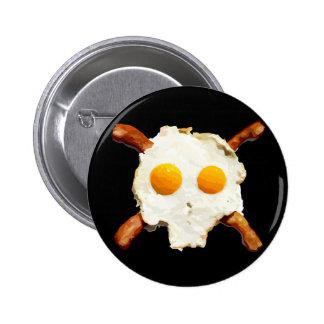 Eier u. Speck-Schädel - schwarzer Hintergrund Runder Button 5,1 Cm
