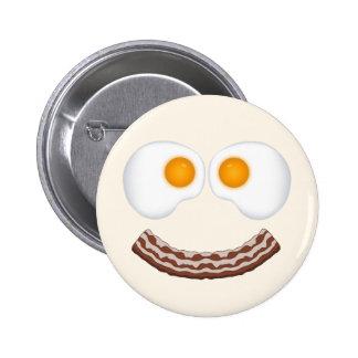 Eier und Speck-Grinsen-Knopf Runder Button 5,7 Cm