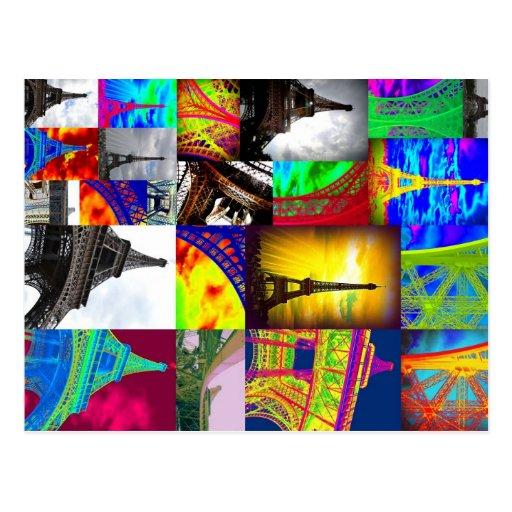Eiffel-Collage Postkarten