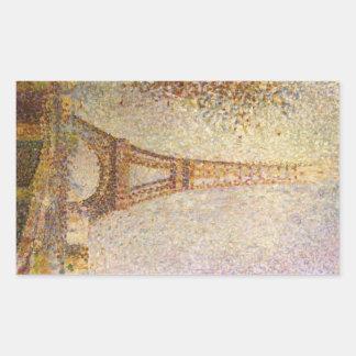 Eiffel-Turm durch Georges Seurat, Vintage feine Rechteckiger Aufkleber