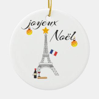 Eiffel-Turm-Flagge von Weihnachten Frankreichs Keramik Ornament