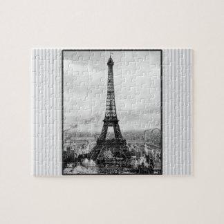 Eiffel-Turm in Paris Striped Vintages Puzzle
