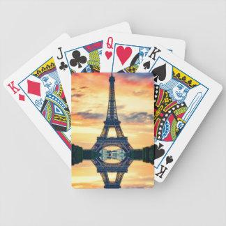 Eiffel-Turm-Paris-Abends-europäische Reise Bicycle Spielkarten