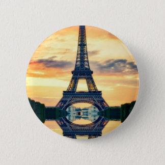 Eiffel-Turm-Paris-Abends-europäische Reise Runder Button 5,1 Cm