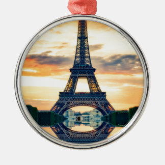 Eiffel-Turm-Paris-Abends-europäische Reise Silbernes Ornament