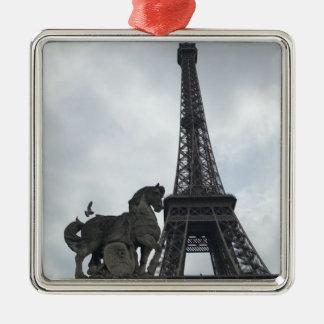 Eiffel-Turm, Paris-Silhouette-Feiertags-Verzierung Silbernes Ornament