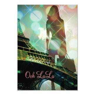 Eiffel-Turm-Parisfashionista-Brautparty 8,9 X 12,7 Cm Einladungskarte