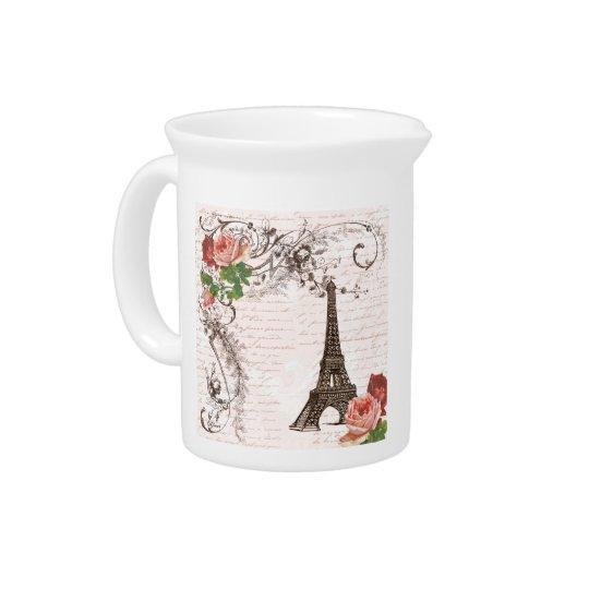 Eiffel-Turm-rote u. rosa Rose Getränke Pitcher