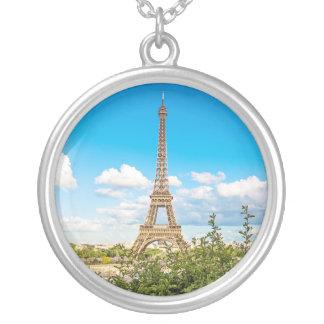 Eiffel-Turm-runde Foto-Charme-Halskette Versilberte Kette