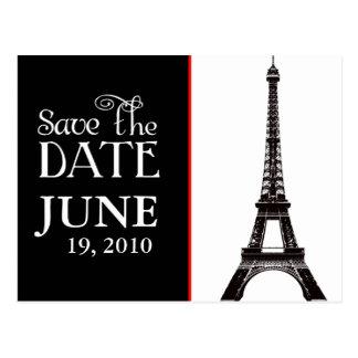 Eiffel-Turm Schwarzweiss Save the Date Postkarte