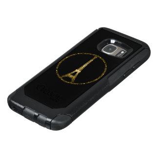 Eiffel-TurmgoldGlitter-Glitzern auf Schwarzem OtterBox Samsung Galaxy S7 Hülle