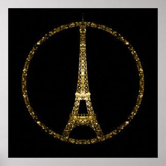 Eiffel-TurmgoldGlitter-Glitzern auf Schwarzem Poster